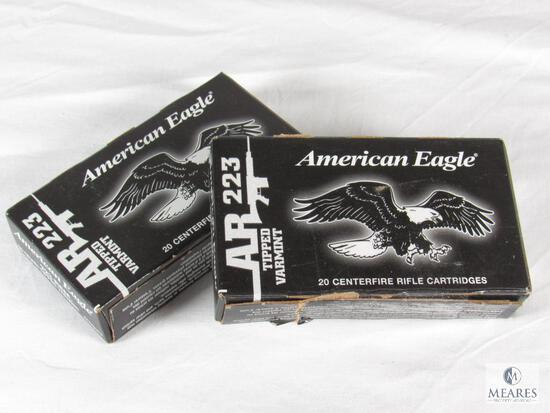 40 Rounds American Eagle .223 REM Ammo 50 Grain Tipped Varmint
