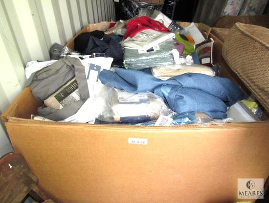Pallet Box of New Overstock & Returns - Contains Curtains, Valances, Clothing and or Bed Linens