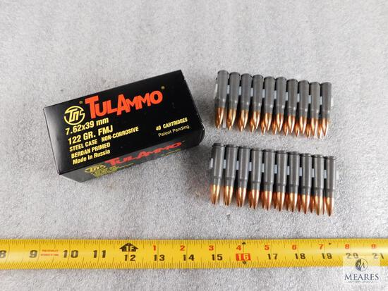 40 rounds Tulammo 7.62x39 ammo 122 grain FMJ