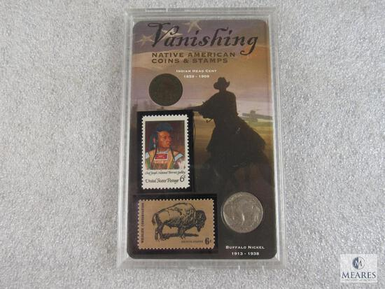 Vanishing Native American Coins & Stamps, Indian Head Cent, Buffalo Nickel, Stamp