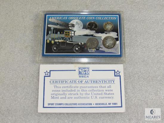 Americas Obsolete Coin Collection, Steel Penny, Buffalo Nickel, Silver Quarter, Mercury Dime
