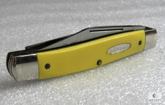 Vintage Ranger Ultra Honed 3 Blade Folder Knife in Yellow