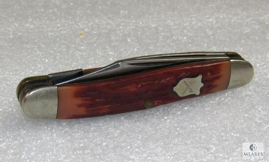 Vintage Camillus Razor Edged New York 175 Stainless 3 Blade Knife