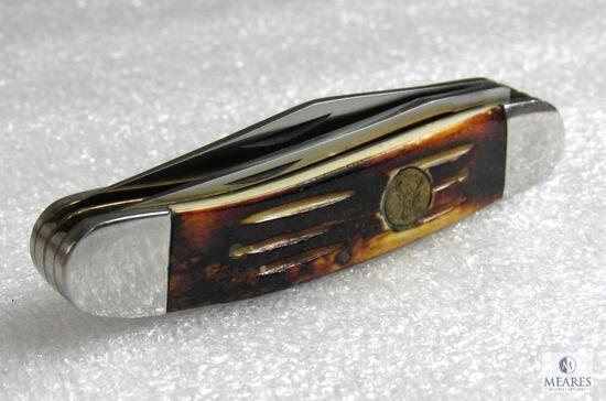 White Tail Cutlery Handmade 2 Blade Surgical Steel Folder Knife - possibly real bone