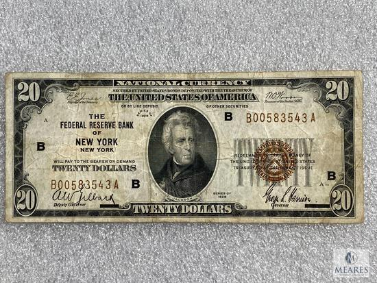 Series 1929 $20 National Currency Note - The Federal Reserve Bank of New York, New York