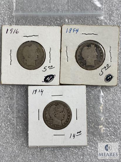 Group of (3) mixed Barber quarters: 1854, 1914 and 1916