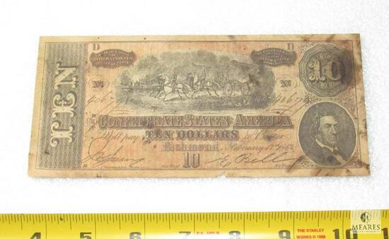 February 17, 1864 CSA Civil War $10 note