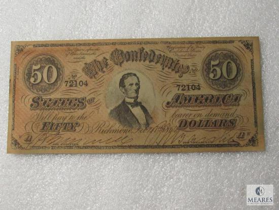 February 17, 1864 CSA Civil War $50 note