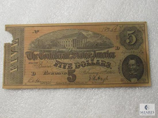 February 17, 1864 CSA Civil War $5 note