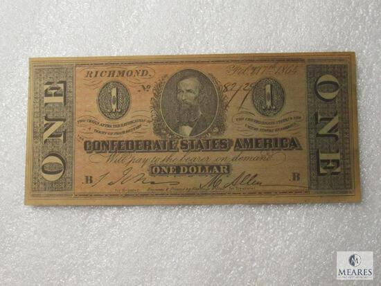 February 17, 1864 CSA Civil War $1 note