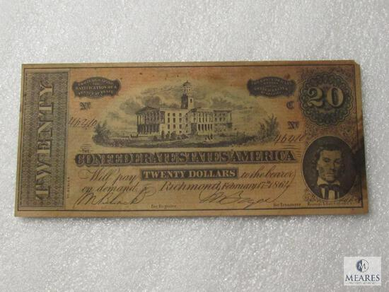 February 17, 1864 CSA Civil War $20 note