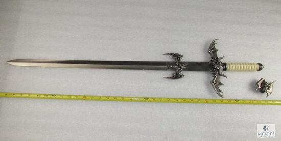Medieval Fantasy Sword with Dragon or Bat Like Creature Accents