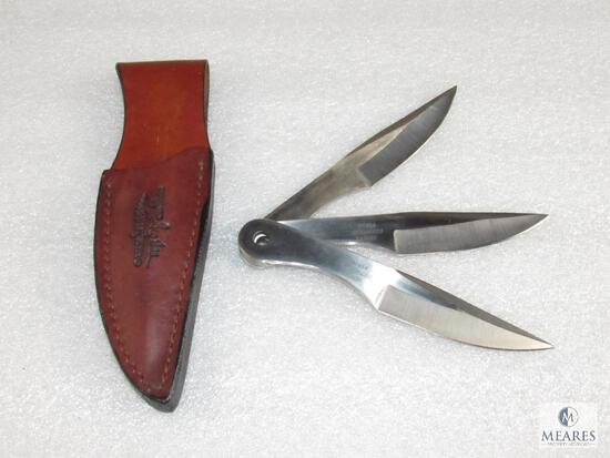 United Cutlery Gil Hibben Throwing Knives Set with Leather Holster UC454