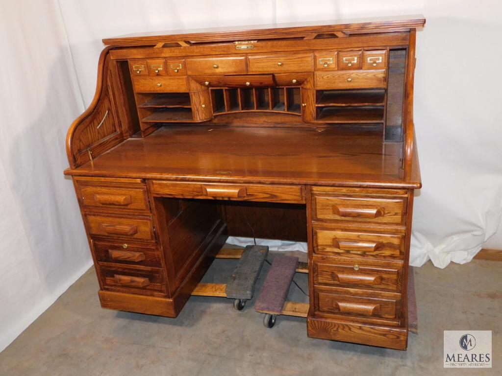 Vintage Winners Only Roll Top Secretary Desk Solid Wood Estate Personal Property Personal Property Online Auctions Proxibid