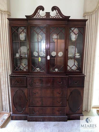 Antique Beautiful Wood China Hutch / Secretary