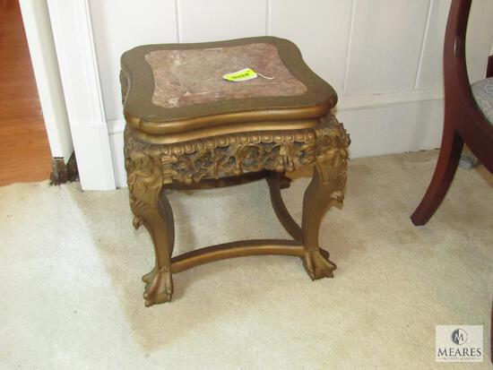Carved Gold-colored gilt Side Table - Ball and Claw with Marble Inlay