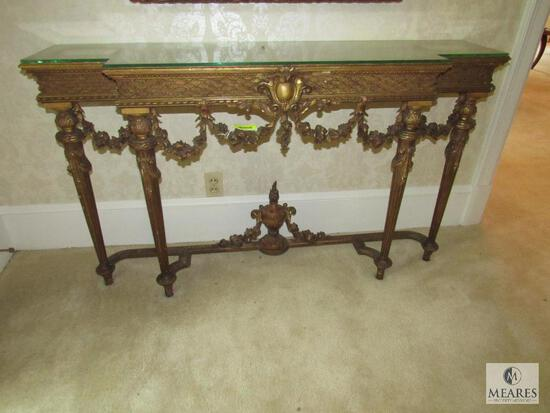 Antique Entry Hall Table Gold Tone Ornate Carved with Glass Top