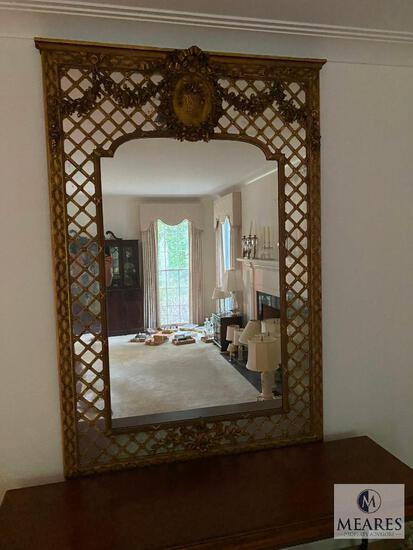 Beautiful, wall-size antique mirror with gilded edges