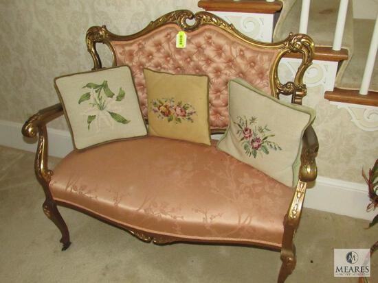 Antique Parlor Settee Chair - Gold-Gilt design