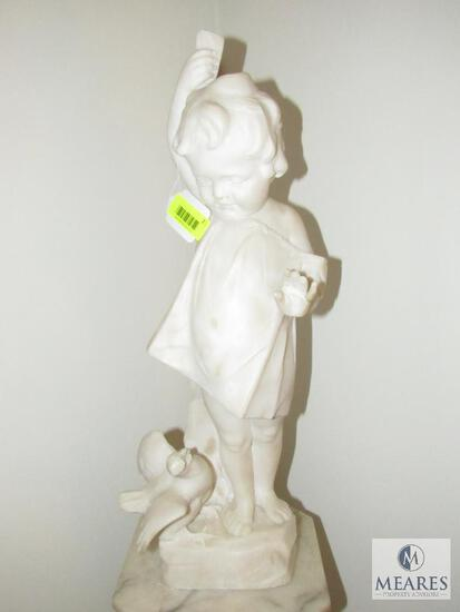 Solid Carved Girl with Bird Statue
