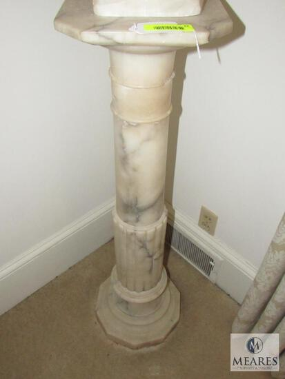 White Alabaster Column Plant Stand