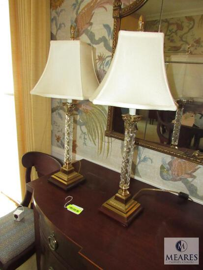 Pair of Crystal & Brass Base Lamps