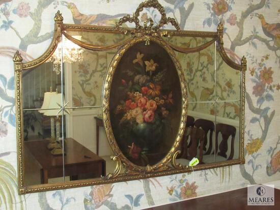 Antique Mirror Gold Gilt frame with Center Floral Artwork