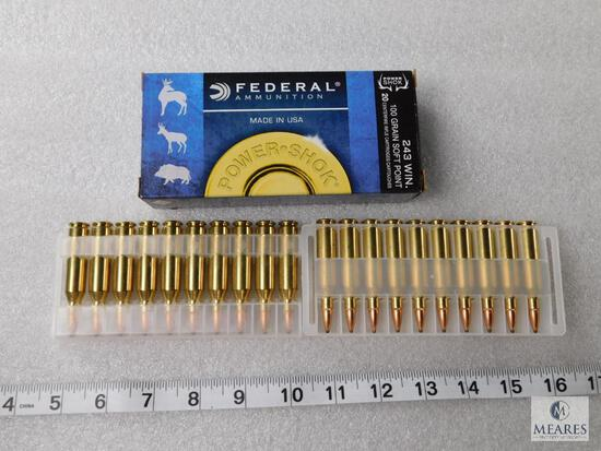 20 Rounds Federal .243 Win Ammo 100 Grain Soft Point Ammo