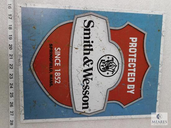 Smith and Wesson tin advertising sign
