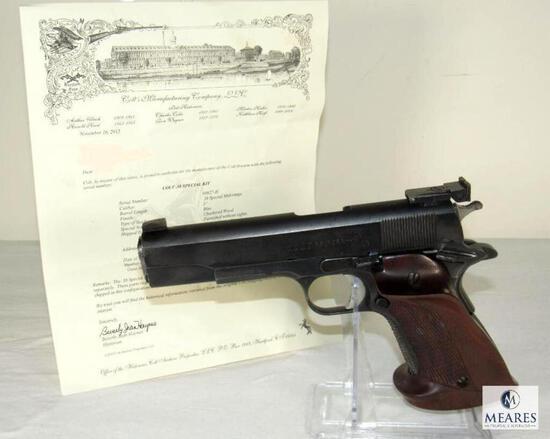 Colt .38 Special Kit Gun Semi-Auto Pistol w/ Colt Archive Letter 8th Infantry Captain US Forces