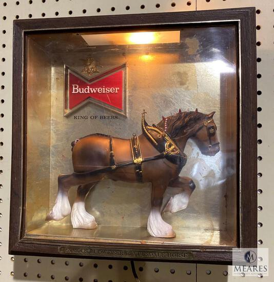Budweiser Light Up Clydesdale Horse Shadow Box