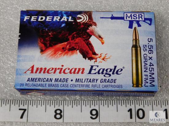 20 rounds 5.56 55 grain FMJ ammunition