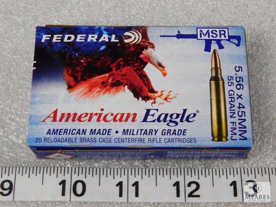 20 rounds 5.56 x 44mm 55 grain FMJ ammunition