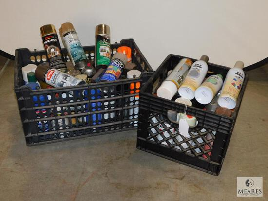 Large lot of assorted Spray Paint - 2 crates full assorted colors