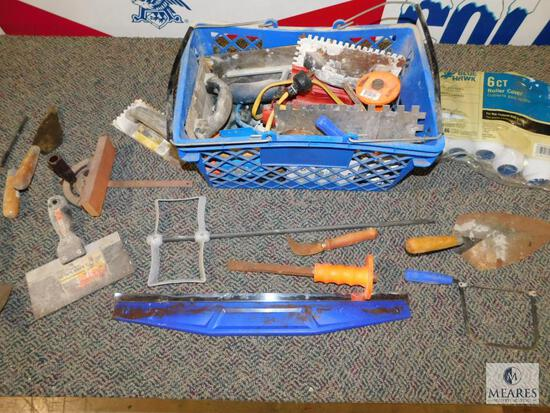 Lot of assorted Hand Tools - Trowels, Saw Guide, Paint Mixer, Roller Brushes, Chisels, and more
