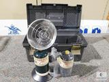 Lot 2 Propane Tanks with Small Portable Heater in a Plastic Storage Tote