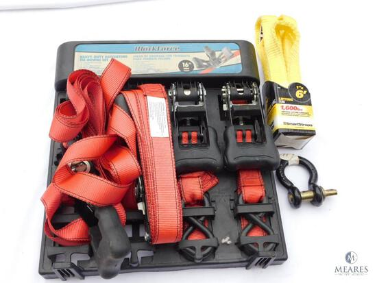 Set of Four Workforce 16' Ratchet Straps, Tow Hook, and 6' Lifting Sling