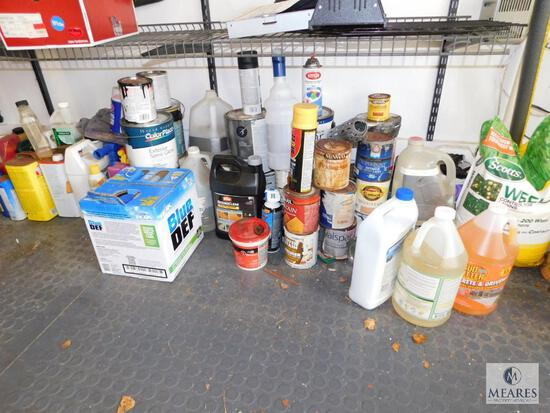 Large Lot of Assorted Paints, Stains, Def, Cleaners, and More