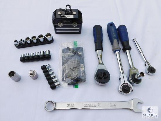 Kobalt Lot Including Ratchets, Sockets, and Wrenches
