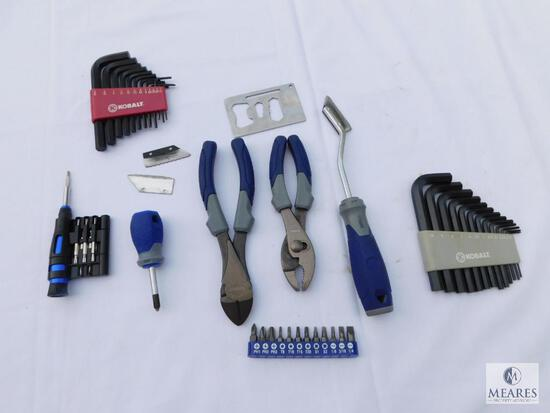 Kobalt Lot Including Allen Wrenches, Pliers, Micro Screwdriver with Bits, and More