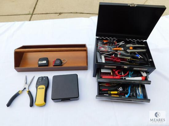 Small Tool Box with Assortment of Quality Tools and Wood Carry Tray