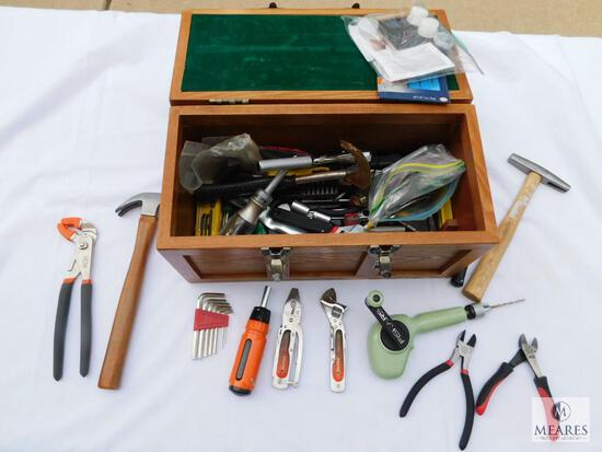 Small Wood Tool Box with Assortment of Hand Tools