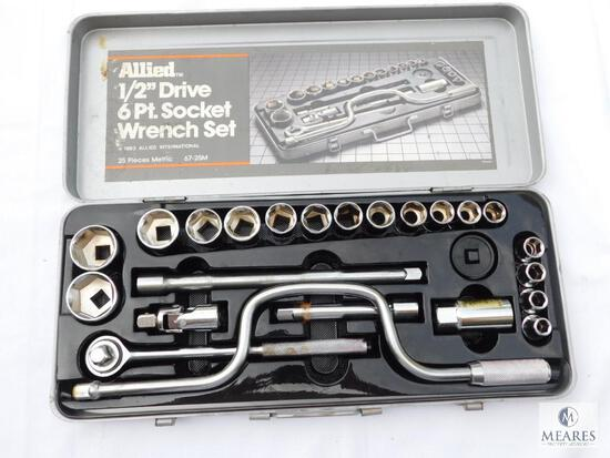 "Allied 1/2"" Drive 6 Point Socket Wrench Set in Case"