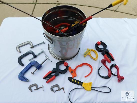 Lot of C-Clamps, Other Assorted Clamps, and Cable Clips