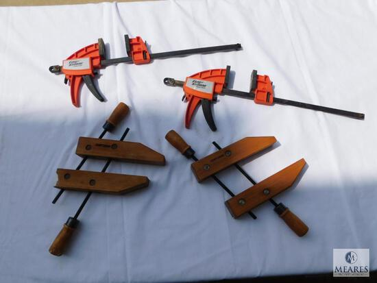 Lot of Two Black & Decker Fire Storm Quick Clamps and Two Craftsman Wood Clamps