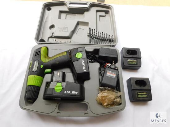 Kawasaki 19.2 Volt Battery Powered Drill with Charger, Case, and Battery