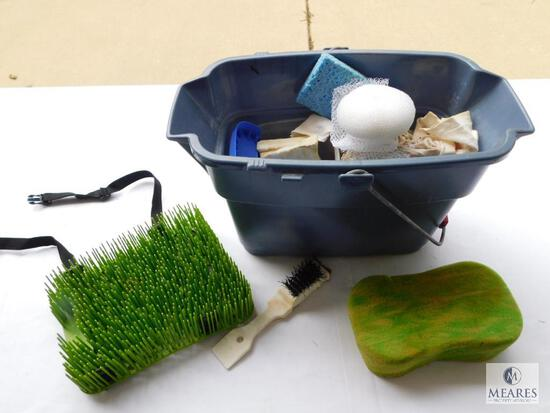Bucket of Cleaning Supplies - Sponges, Shoe Brush, and More