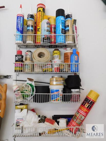 Wall Shelf Contents - Caulking, Foam Spray, Putty, Paints, and Cleaners