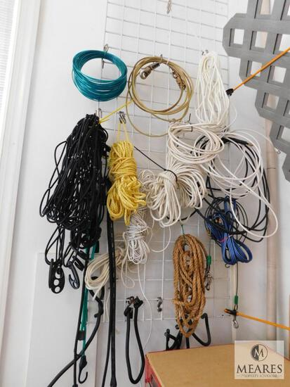 Wall Lot of Ropes, Cables, Cargo Net, and Bungee Cords