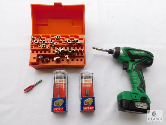 Hitachi 12 Volt Drill, Two New Bosch Router Bits, and Partial Box of Various Router Bits